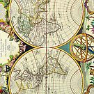 Vintage Antique Map of the World Circa 1755 by pjwuebker