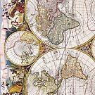 Vintage Antique Map of the World Circa 1686 by pjwuebker