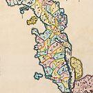Vintage Antique Map of Japan Circa 1655 by pjwuebker