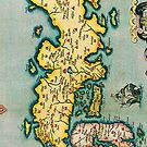 Vintage Antique Map of Japan Circa 1595 by pjwuebker