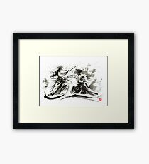 Samurai sword bushido katana martial arts budo sumi-e original ink painting artwork Framed Print
