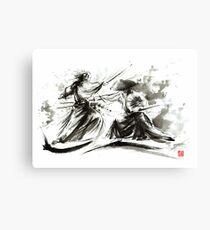 Samurai sword bushido katana martial arts budo sumi-e original ink painting artwork Canvas Print