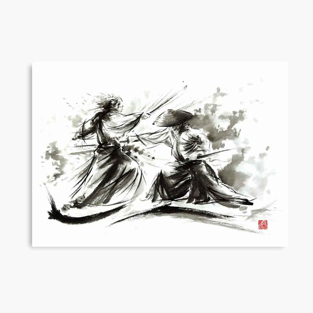 Samurai sword bushido katana martial arts budo sumi-e original ink painting artwork Leinwanddruck