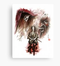 Samurai ronin zen meditation deamons of mind martial arts sumi-e original ink painting artwork Metal Print