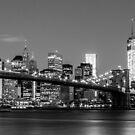 Brooklyn Bridge - B&W 2 -  3x1 by Andrew Dunwoody