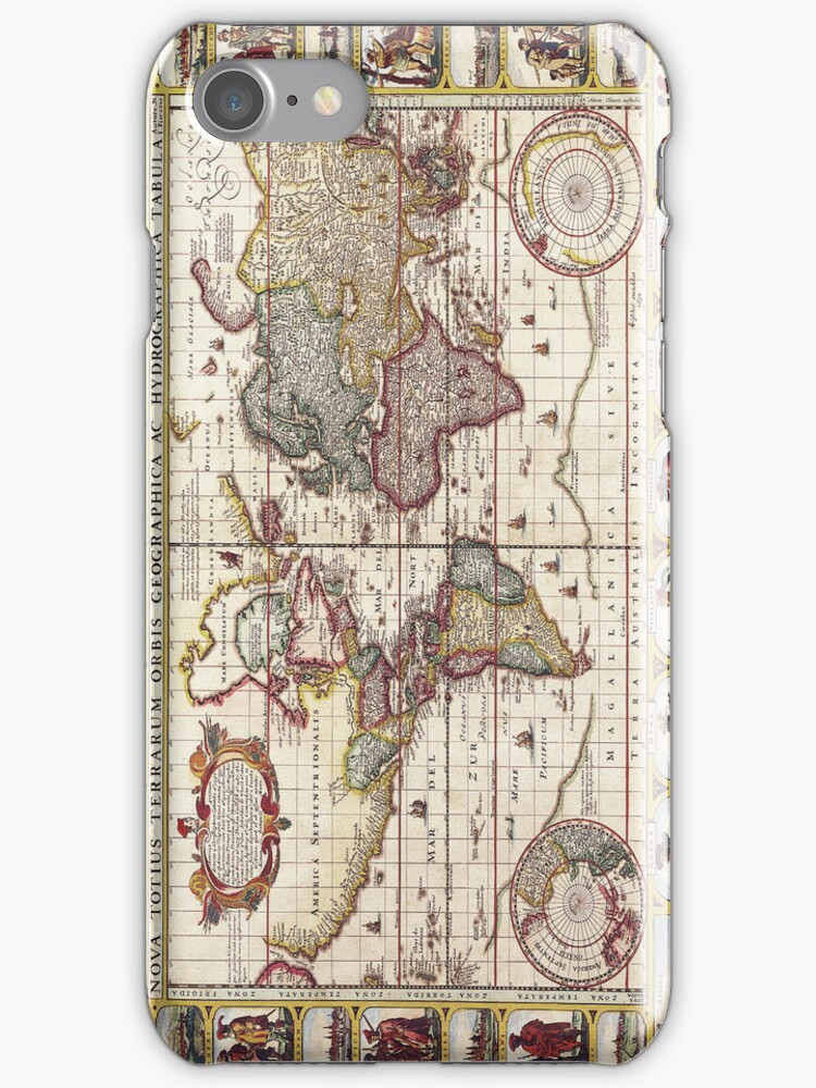Antique Map of the Known World Circa 1652 by pjwuebker
