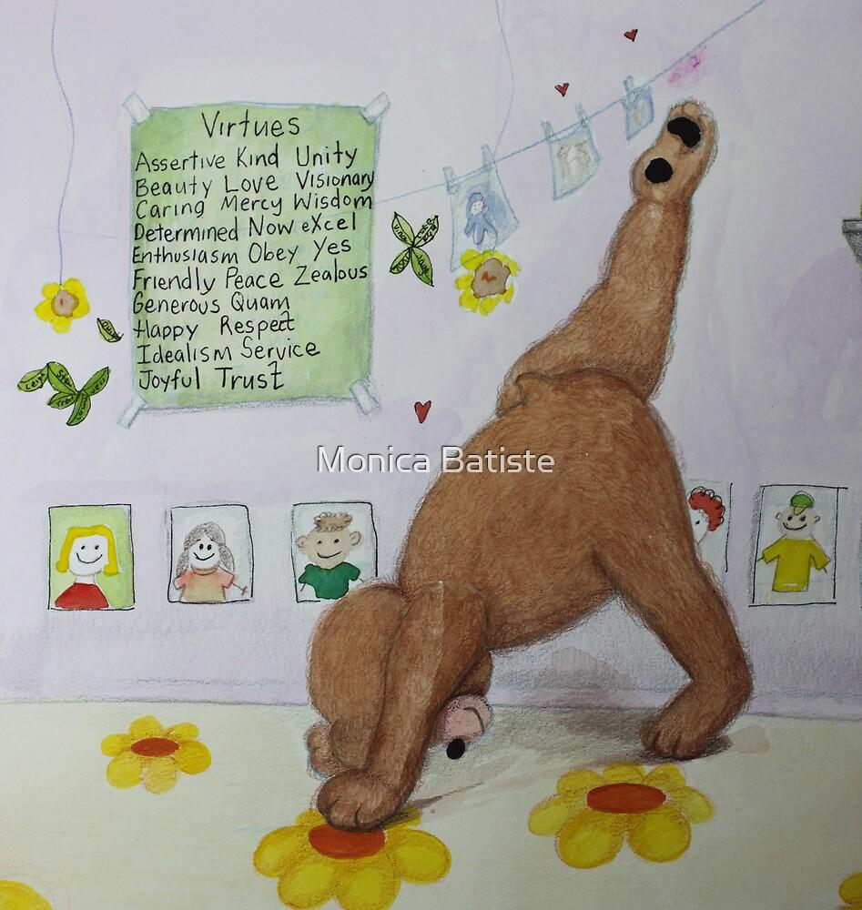 Three legged bear (three legged dog) Yoga pose with Virtues poster by Monica Batiste
