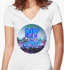 NY in love Women's Fitted V-Neck T-Shirt