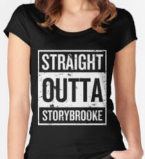 Straight Outta Storybrooke - White Words Women's Fitted Scoop T-Shirt