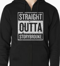 Straight Outta Storybrooke - White Words Zipped Hoodie