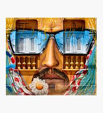 Graffiti face with glasses Photographic Print