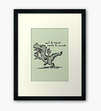 Evil Dinosaur Wants to Munch Framed Print