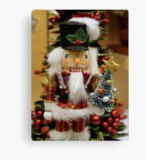 Nutcracker With Christmas Tree Canvas Print