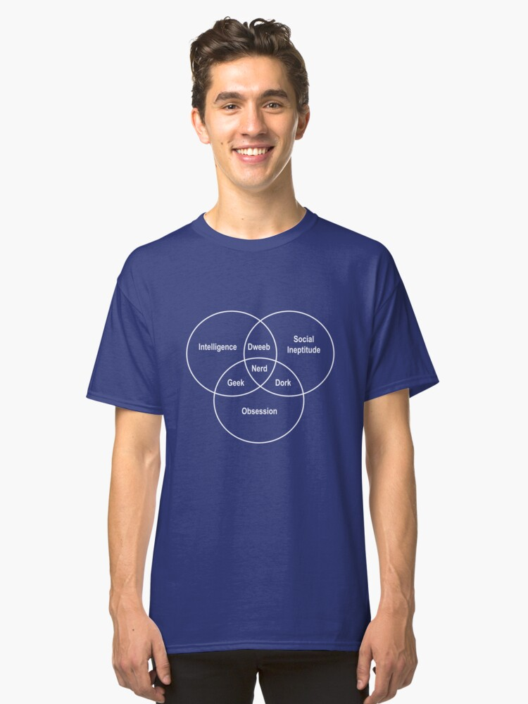 Nerd Venn Diagram Classic T Shirt By Contoured Redbubble