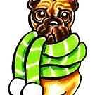 French Bulldog Happy Winter Scarf by offleashart