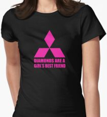 Diamonds are a girl's best friend pink Women's Fitted T-Shirt