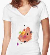 Abstract watercolor blots Women's Fitted V-Neck T-Shirt