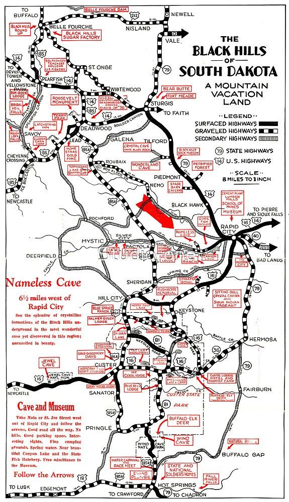 1938 Black Hills South Dakota Road Map
