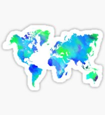 Blue-Green Painted World Map Sticker