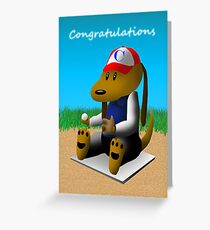 Congratulations Baseball Dog  Greeting Card