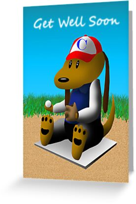 Get Well Soon Baseball Dog  by jkartlife