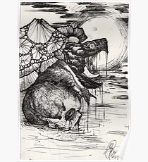 swamp hag; snapping turtle in the night Poster