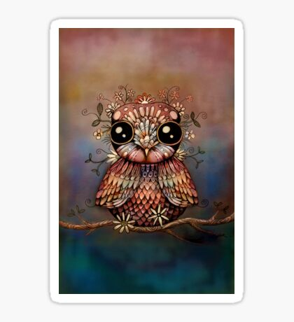little rainbow flower owl Sticker