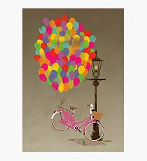 Love to Ride my Bike with Balloons even if it's not practical. Photographic Print