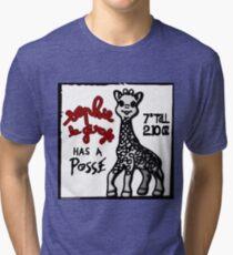 Sophie la Girafe Has A Posse Giraffe Retro Tri-blend T-Shirt
