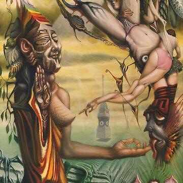 Transgender Buddha Facing Mara by elftantra