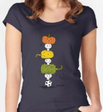 Pumpkin Skull Totem Pole Women's Fitted Scoop T-Shirt
