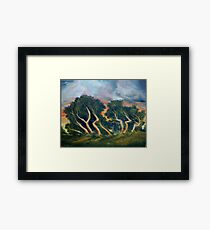 Cyprus trees oil painting Framed Print