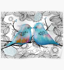 Turquoise Love Birds Poster