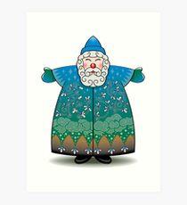 Stylized Blue Santa Claus Art Print