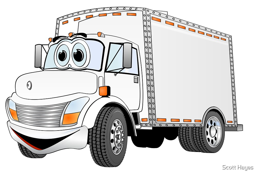 Box Truck White Cartoon by Graphxpro
