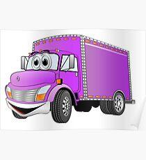 Box Truck Purple Cartoon Poster