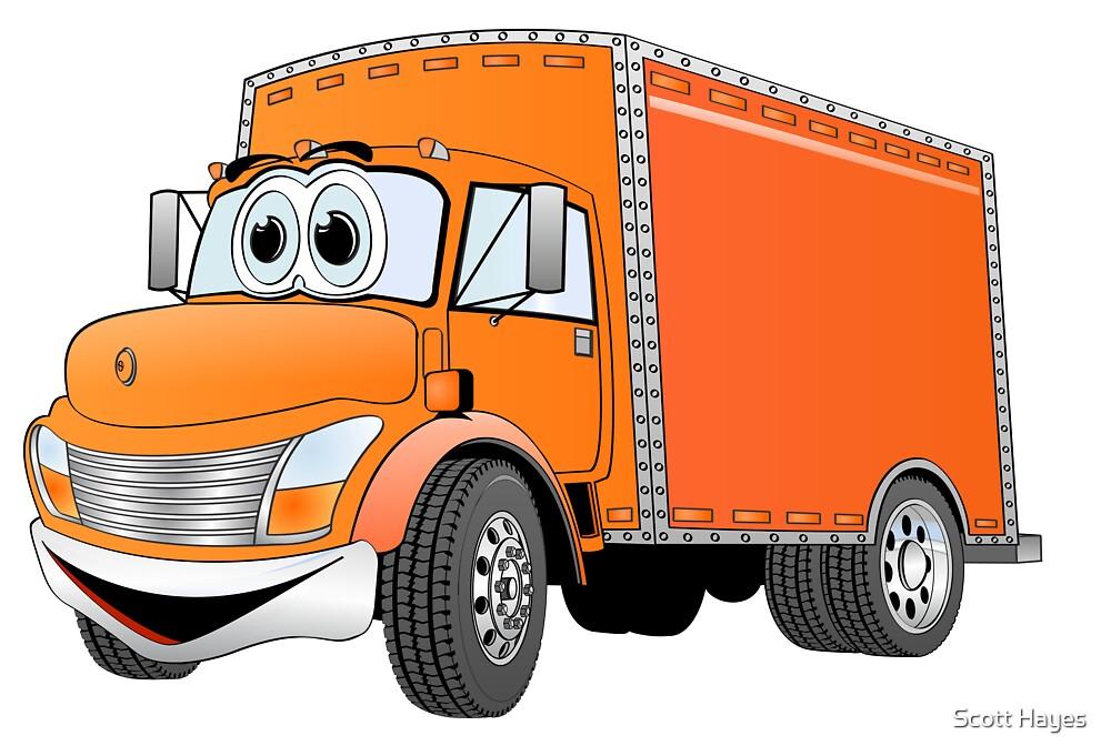 Box Truck Orange Cartoon by Graphxpro