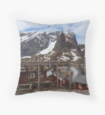 Red Fishing Huts Throw Pillow