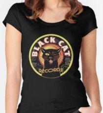 Black Cat LP Art Deco Women's Fitted Scoop T-Shirt