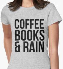 COFFEE BOOKS & RAIN Women's Fitted T-Shirt