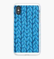 Blue knit sweater fabric pattern iPhone Case/Skin