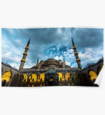 Illuminated: Blue Mosque in Istanbul, Turkey  Poster