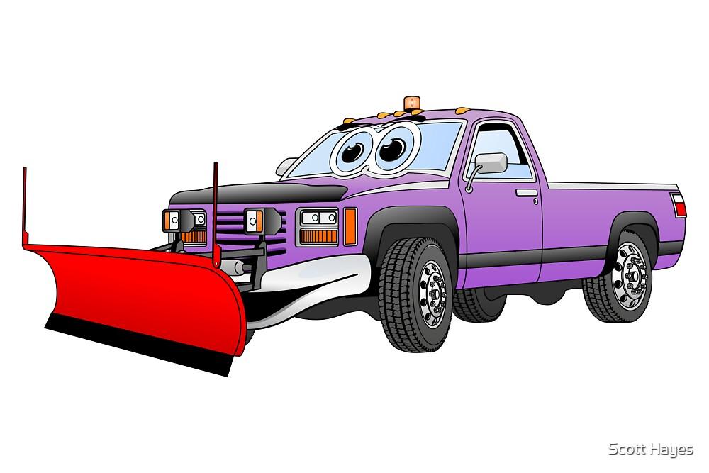 Purple R Pick Up Truck Snow Plow Cartoon by Graphxpro