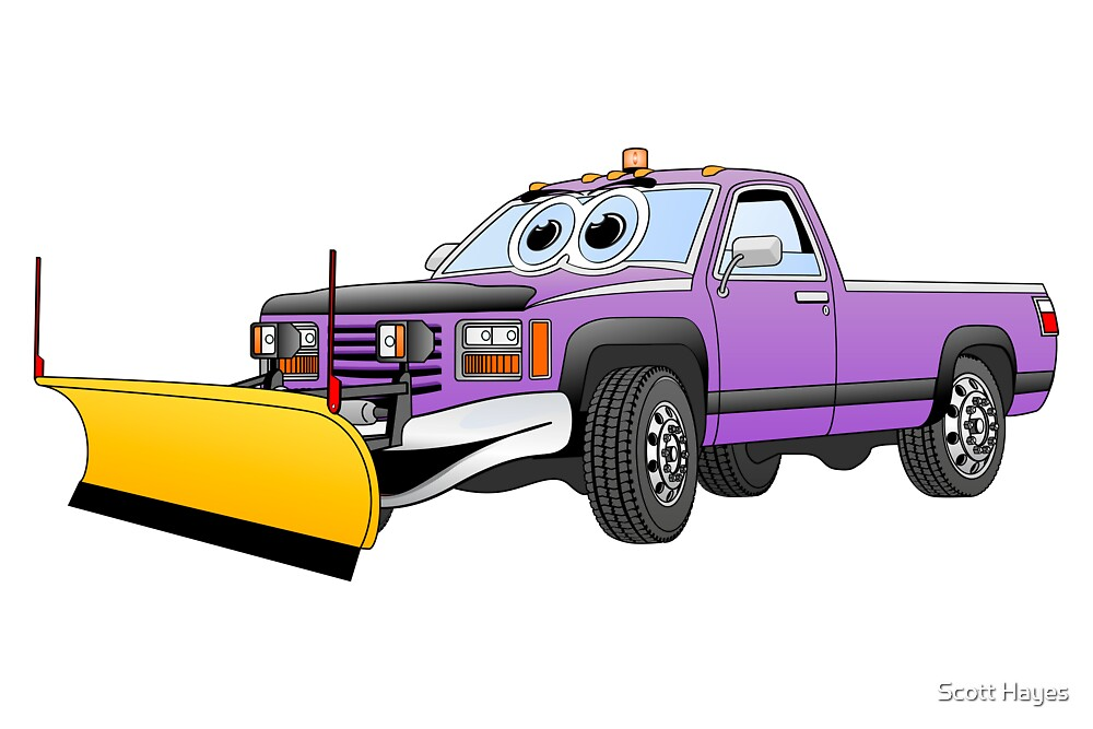 Purple Y Pick Up Truck Snow Plow Cartoon by Graphxpro