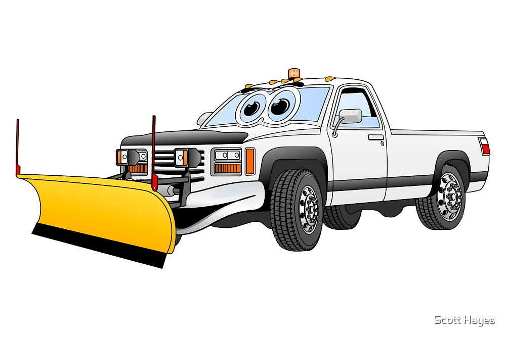 White Y Pick Up Truck Snow Plow Cartoon by Graphxpro