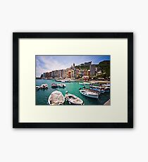 Pastel Harbour: Boats in Cinque Terre, Italy Framed Print