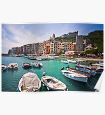 Pastel Harbour: Boats in Cinque Terre, Italy Poster