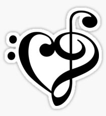 Bass- Treble heart Sticker