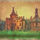 Ooidonk Castle -  aged watercolour by Gilberte