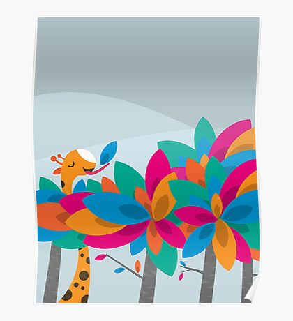 Orange and Trees Poster